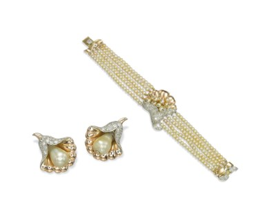 A SET OF PEARL AND DIAMOND JEW