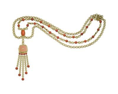 A CORAL AND GOLD WATCH NECKLAC