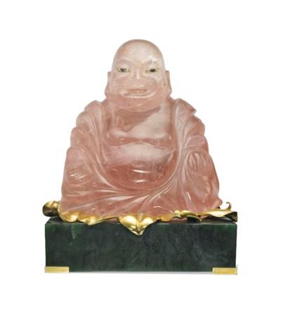 A NEPHRITE AND MORGANITE BUDDH