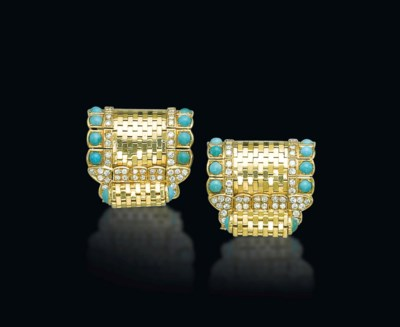 A PAIR OF RETRO TURQUOISE AND