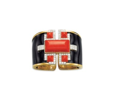 A coral, diamond and enamel bangle, by David Webb. Sold for CHF 47,500 on 13 November 2012 at Christie's in Geneva
