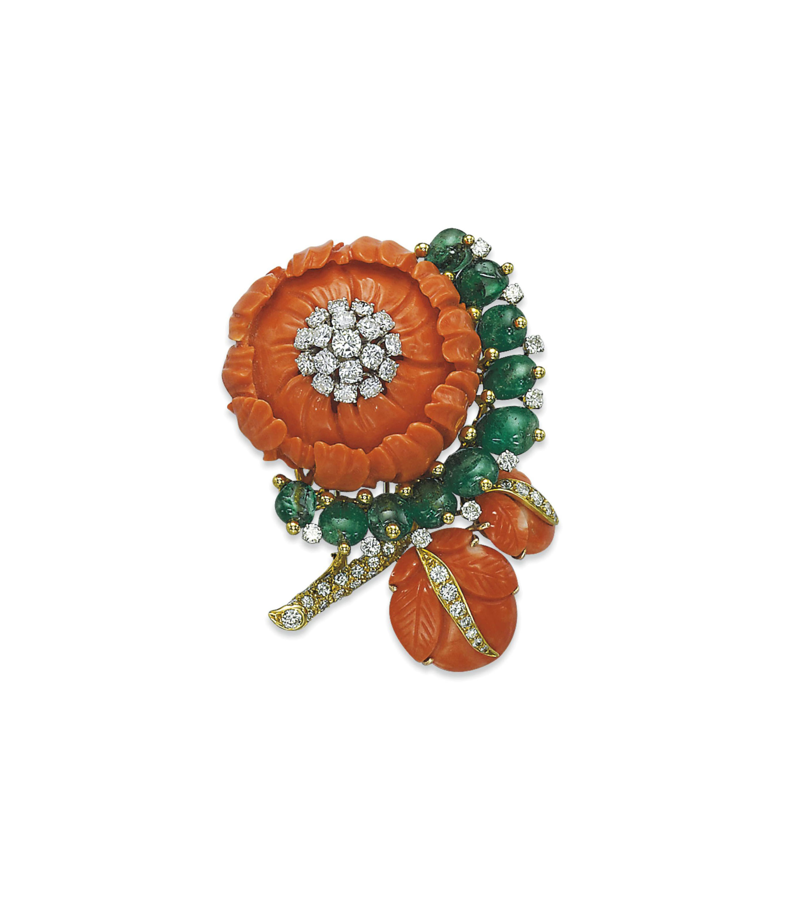 A CORAL, EMERALD AND DIAMOND FLOWER BROOCH, BY DAVID WEBB