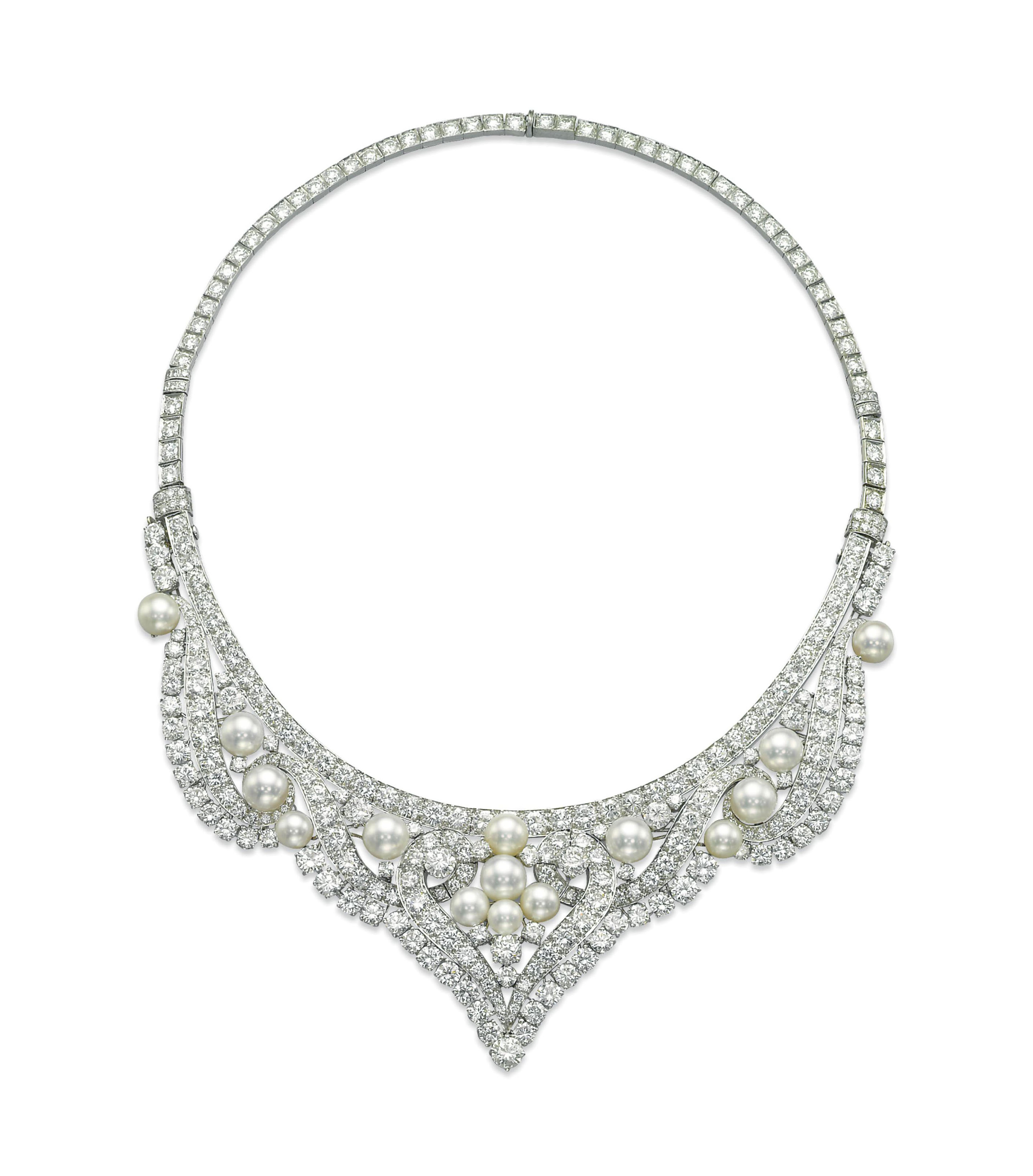 3b97ad778a27b A CULTURED PEARL AND DIAMOND NECKLACE/TIARA, BY DAVID WEBB | Jewelry ...