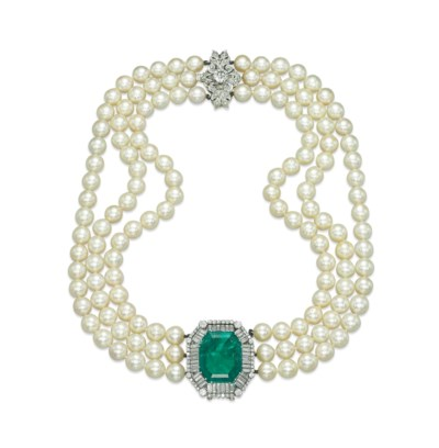 A CULTURED PEARL, EMERALD AND