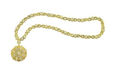 A GOLD AND DIAMOND SAUTOIR, BY