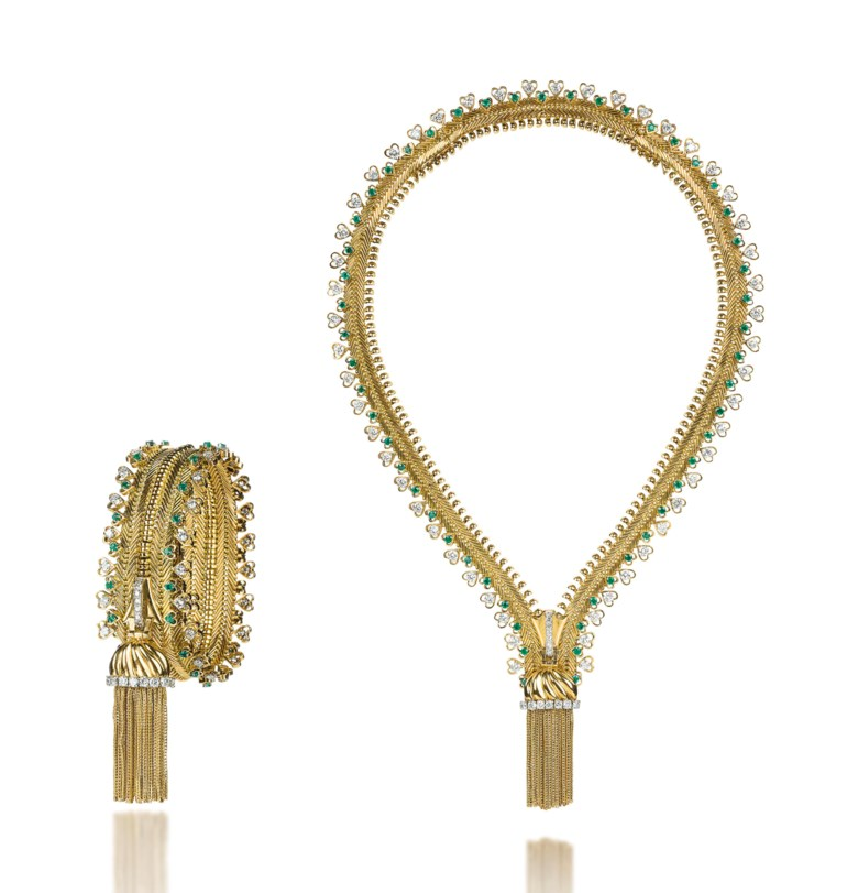 A set of emerald and diamond Zip jewellery, by Van Cleef & Arpels. Sold for CHF 255,000 on 13 November 2012  at Christie's in Geneva