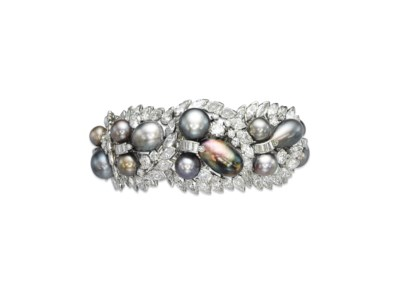 A PEARL AND DIAMOND BRACELET,