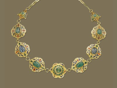 A MOROCCAN ENAMEL AND GEM-SET