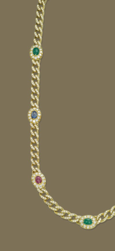 A GOLD, DIAMOND AND GEM-SET LO