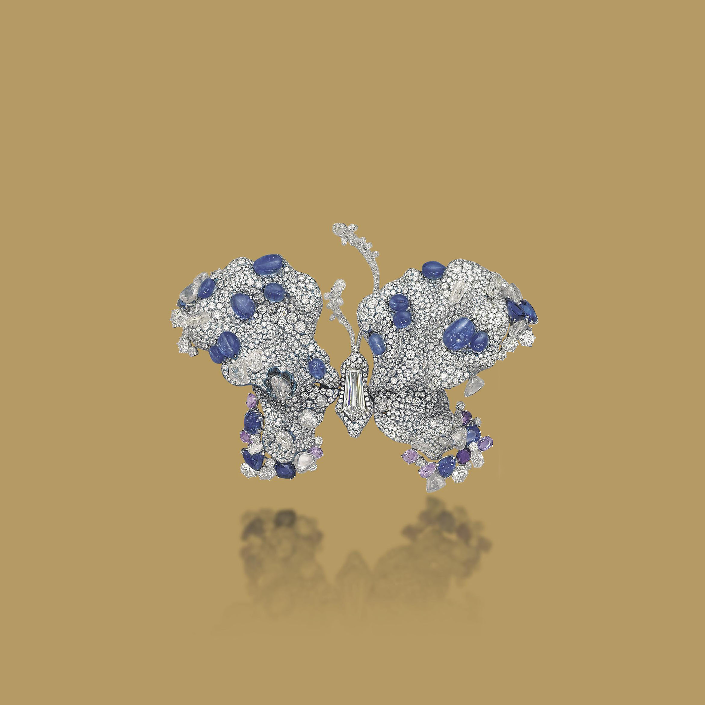 A SAPPHIRE AND DIAMOND 'TRANSCENDENCE' BUTTERFLY BROOCH, BY CINDY CHAO THE ART JEWEL