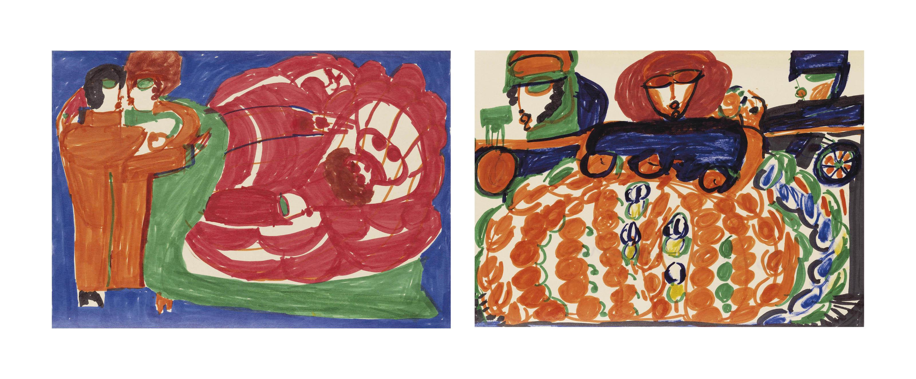 Los von zwei Werken: L'Auto en couronne, um 1963-64  Ballet de Vienne, um 1963-64