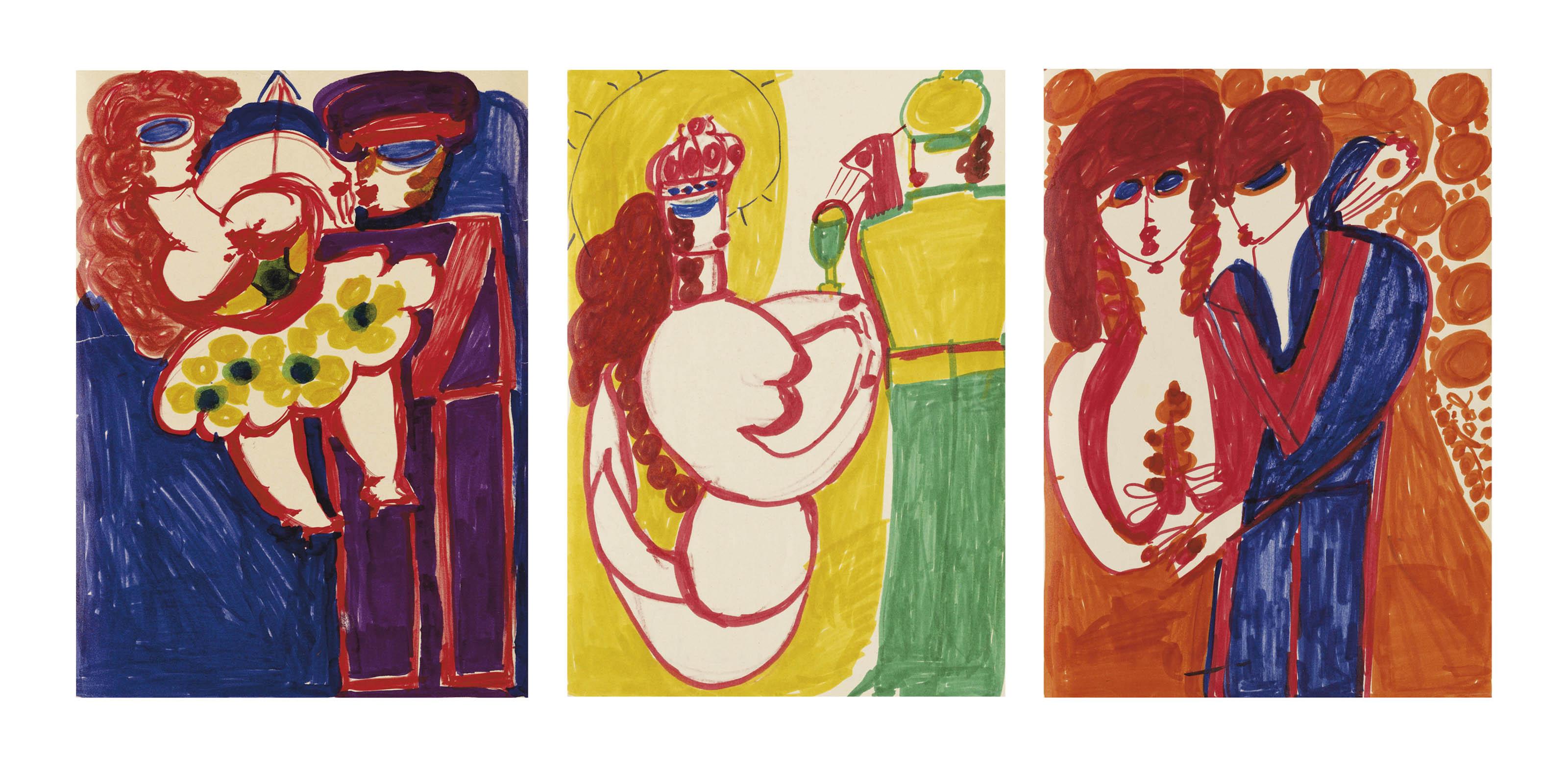 Los von drei Werken: Foule délirante Kennedy, um 1963-64  Sirène de Trévy, um 1963-64   Sous les lampions, um 1963-64