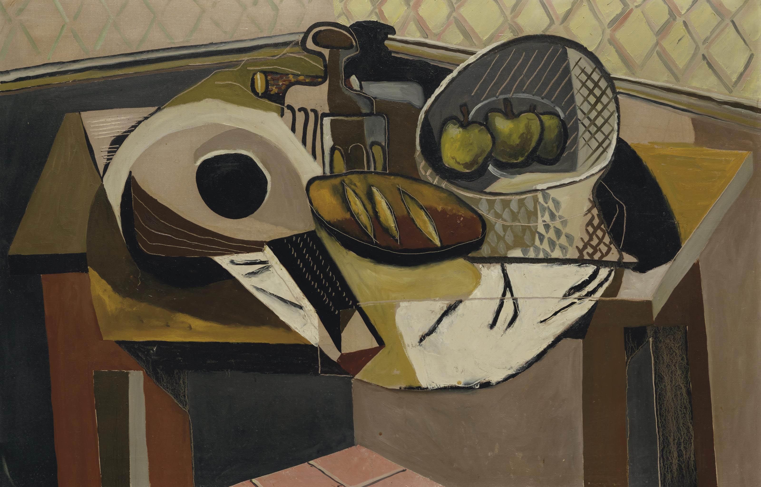 Stillleben mit Mandoline, Fruchtschale, Wasserflasche und Brot, 1932