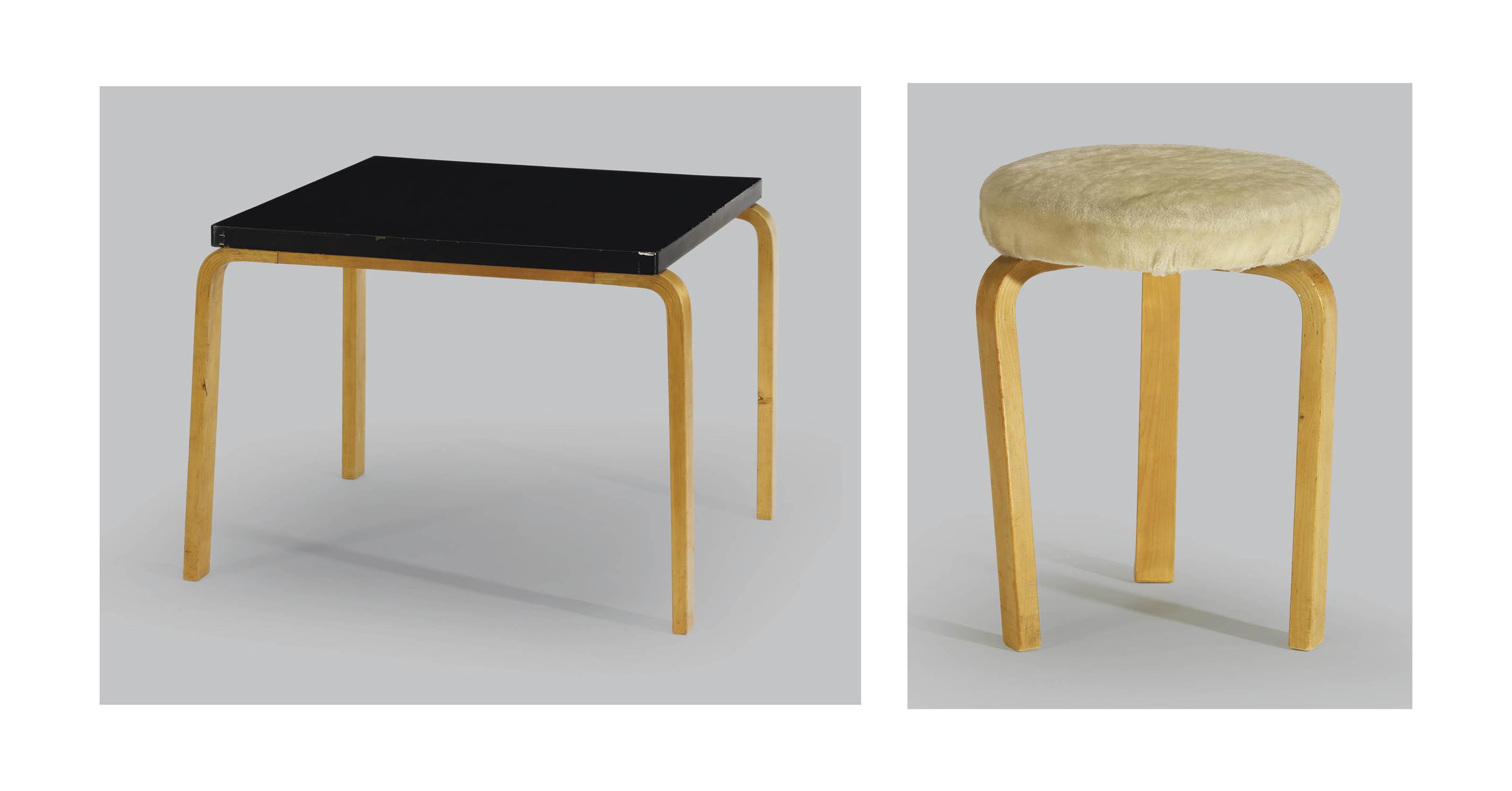 Tisch (Modell Nr. 81) & Hocker (Modell Nr. 60), Entwurf von 1932/33