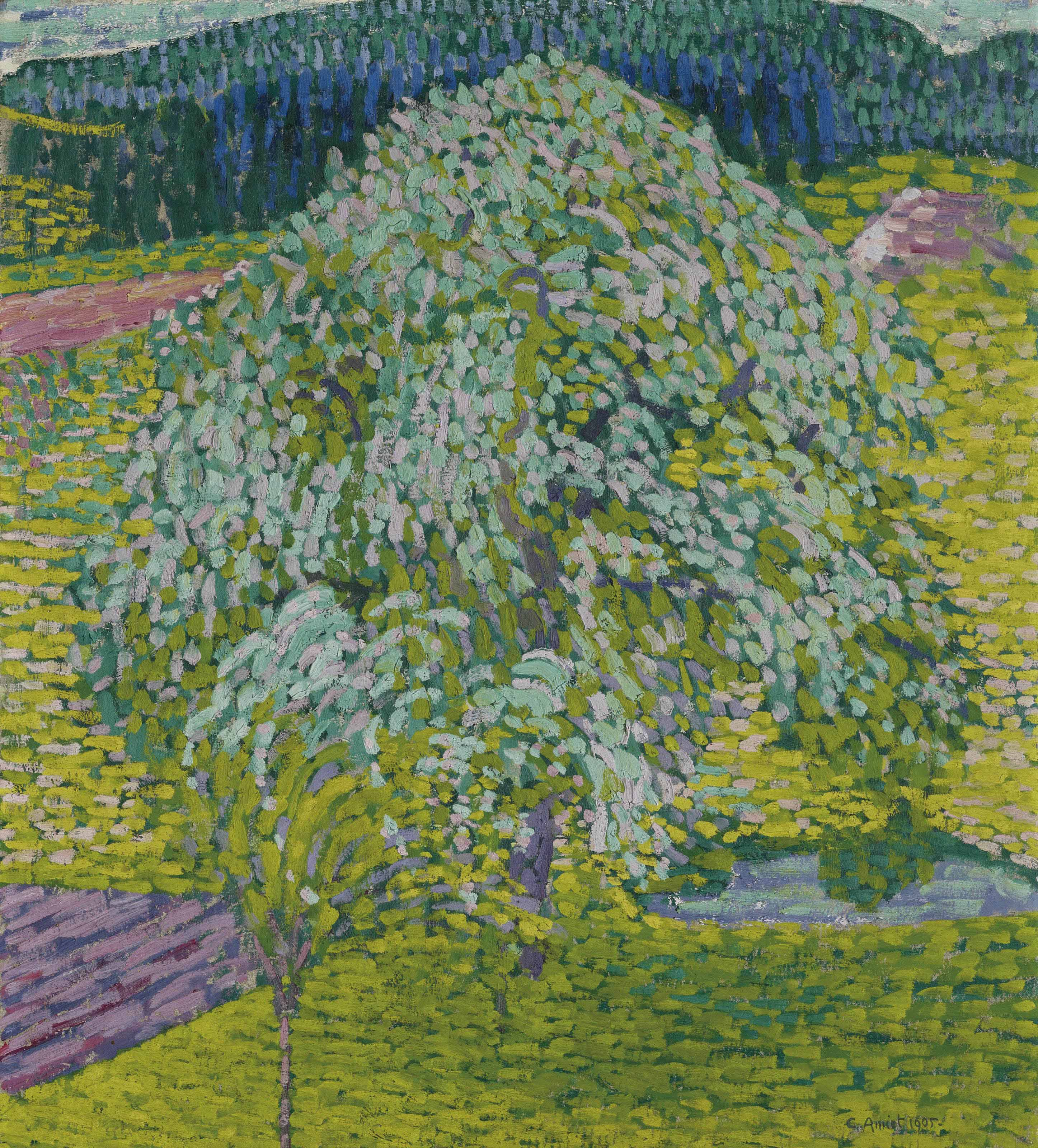 Blühender Obstbaum in Frühlingslandschaft, 1905