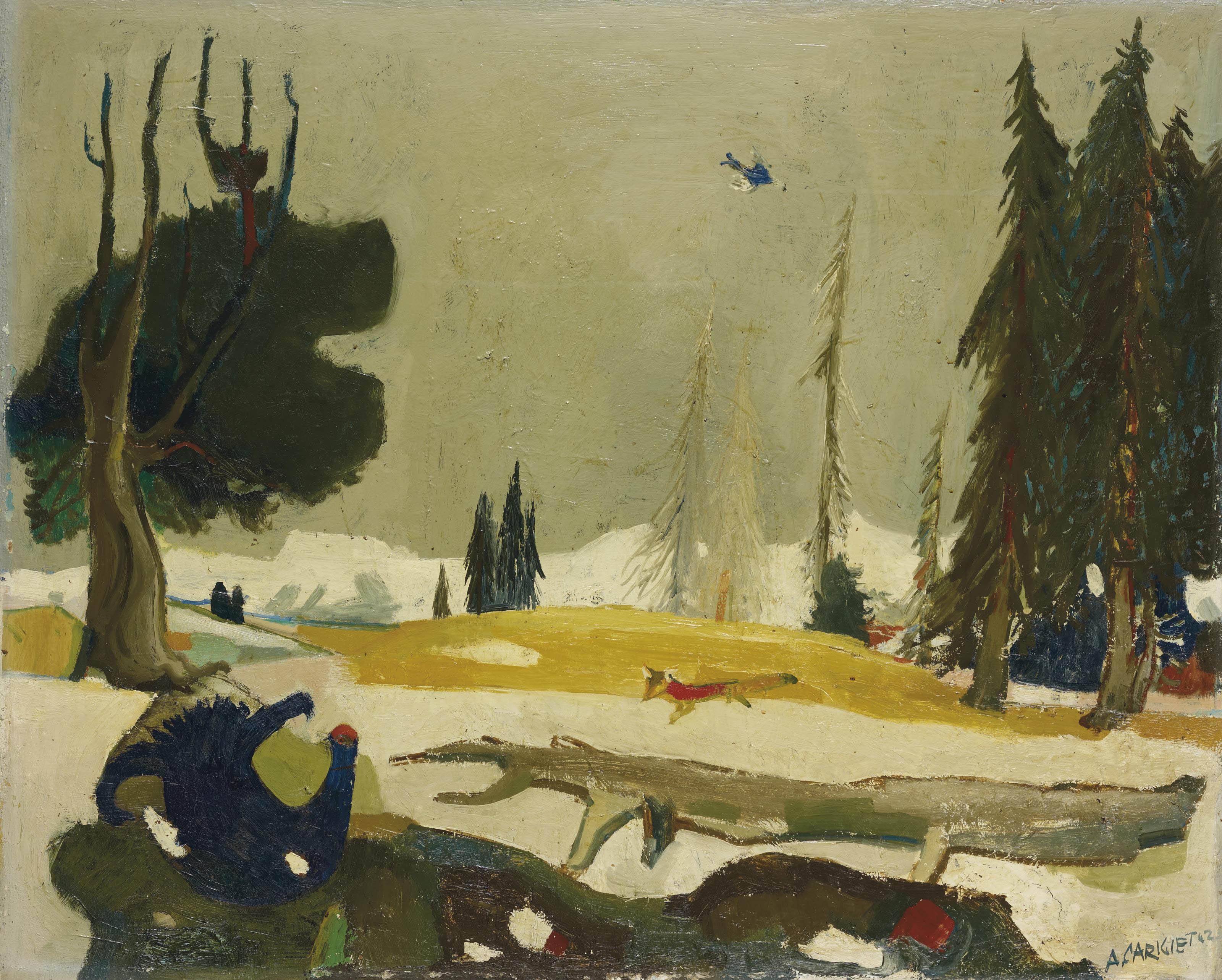 Landschaft mit Birkhahn, 1942