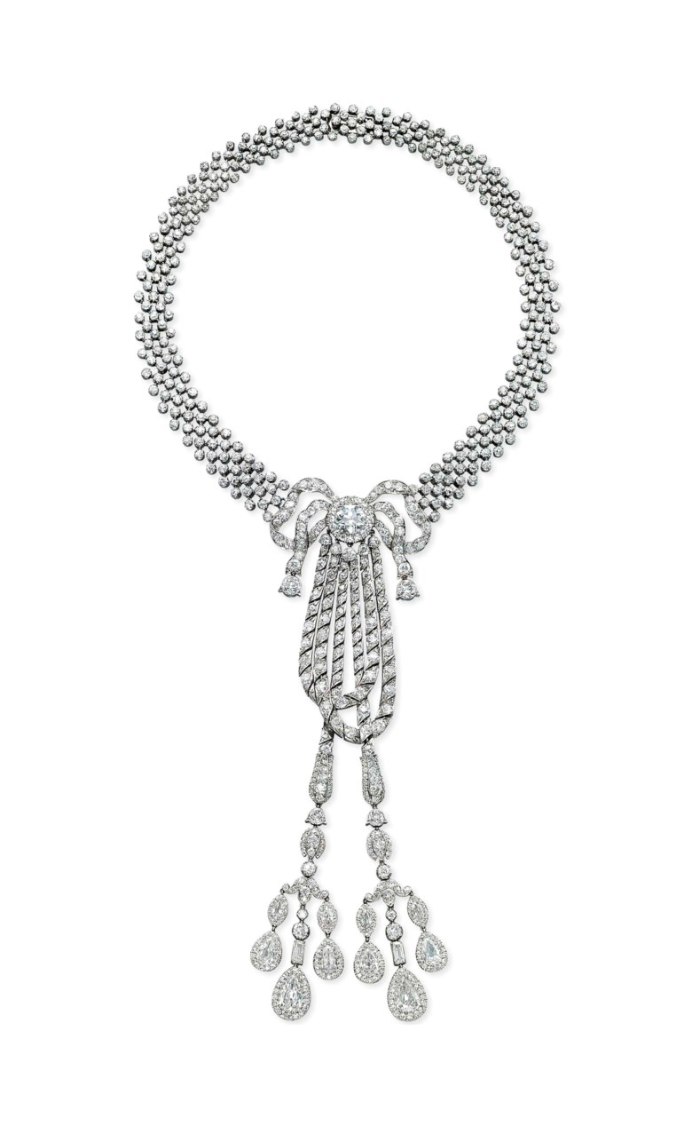 A Belle Époque diamond necklace, by Cartier . Sold for CHF 747,000 in the Jewels for Hope The Collection of Mrs Lily Safra sale on 14 May 2012 at Christie's in Geneva