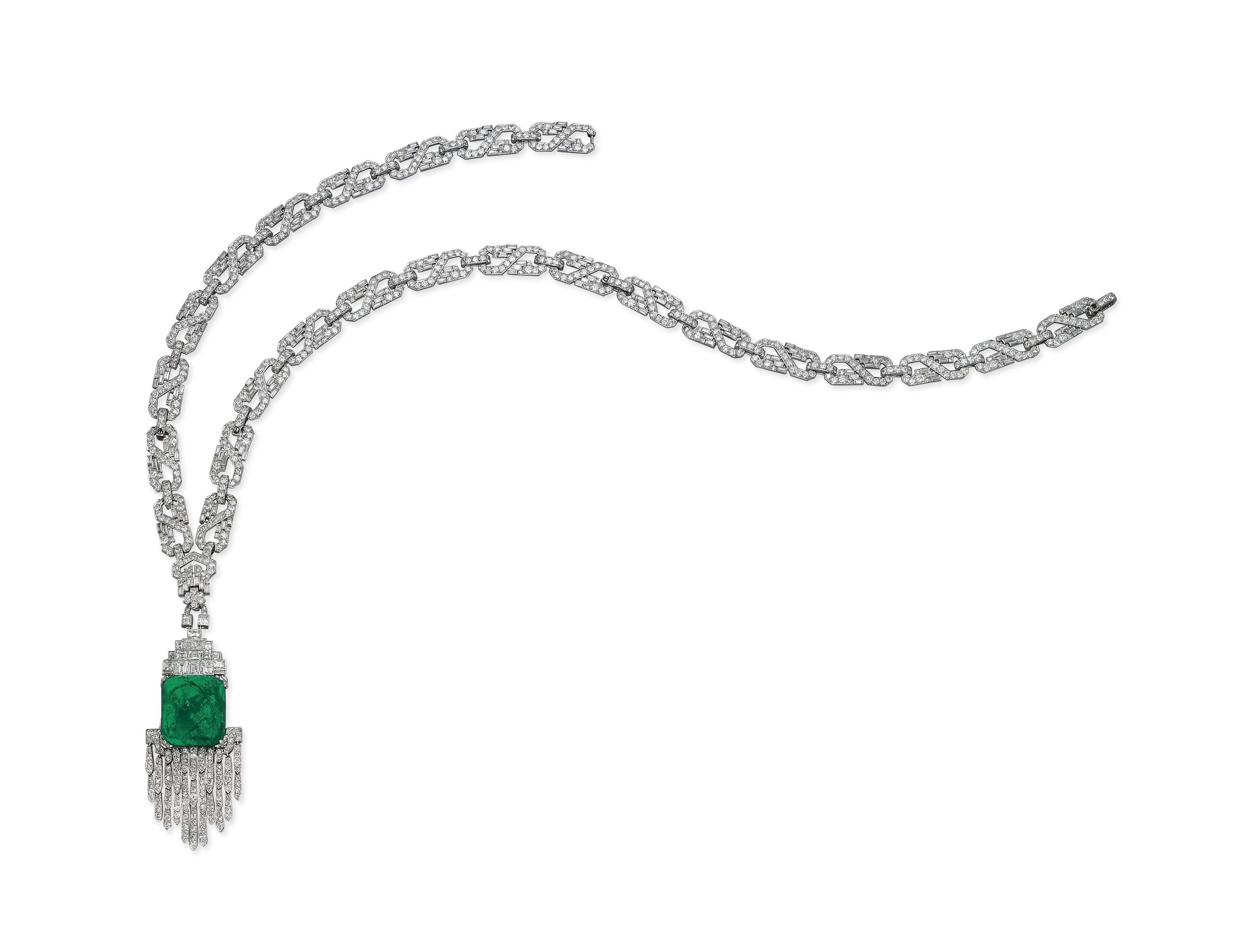 AN ART DECO EMERALD AND DIAMOND SAUTOIR, BY MAUBOUSSIN