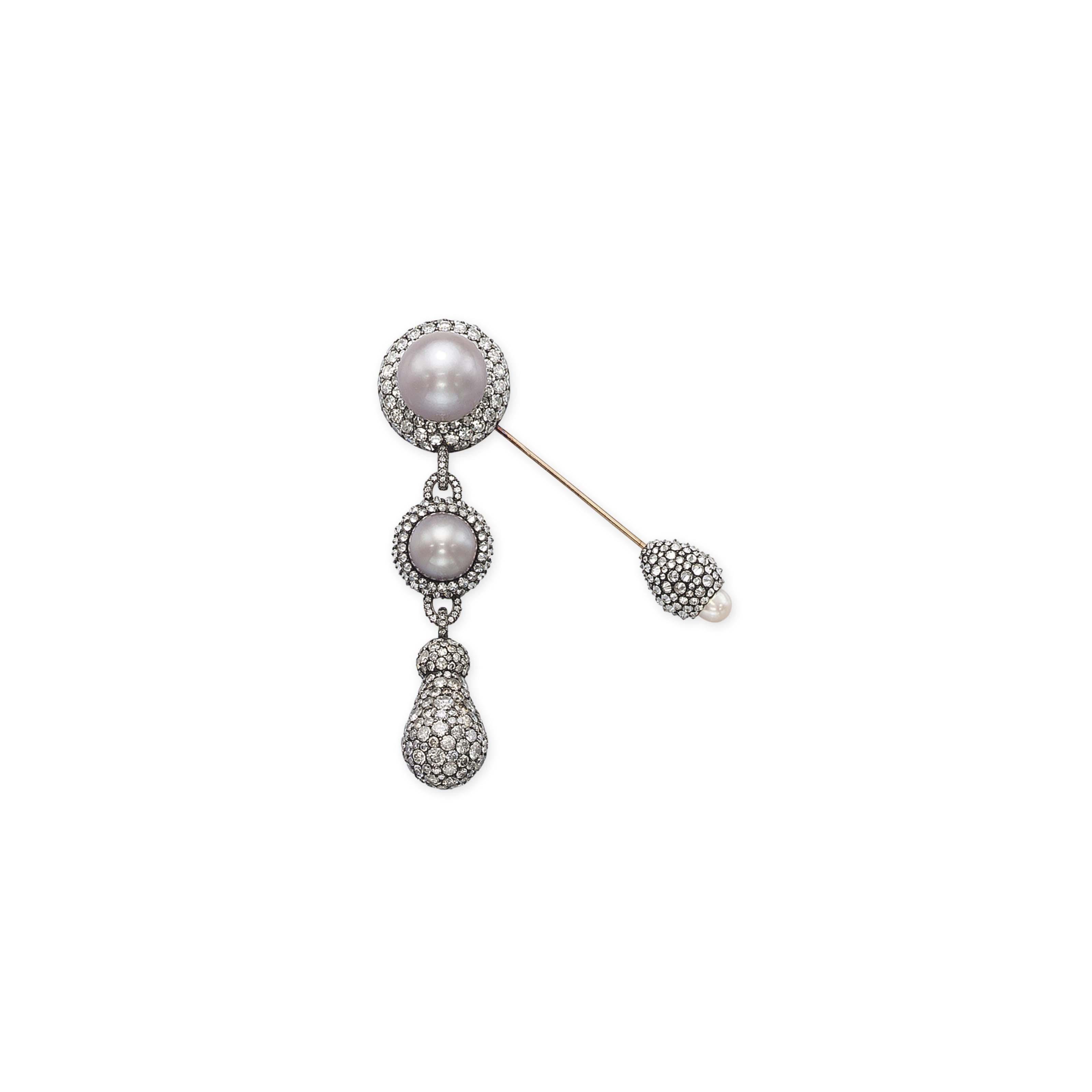 A PEARL AND DIAMOND FIBULA BROOCH, BY JAR