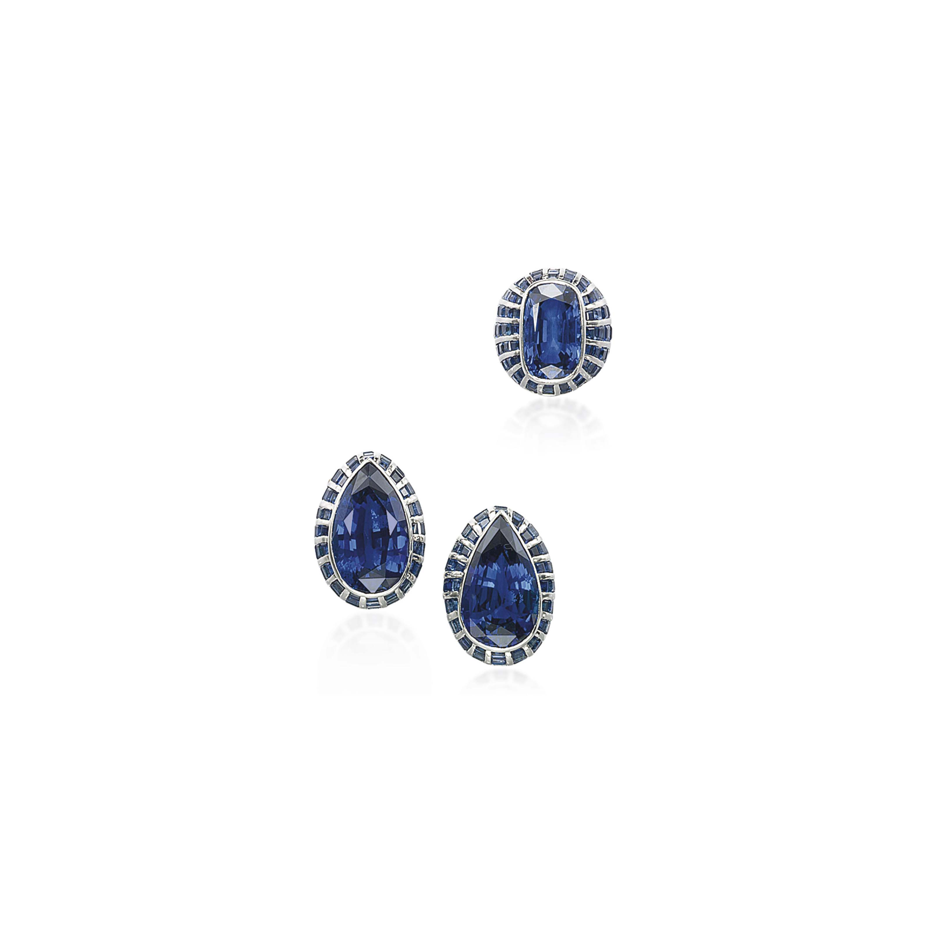 A SET OF SAPPHIRE JEWELLERY, BY FRED LEIGHTON