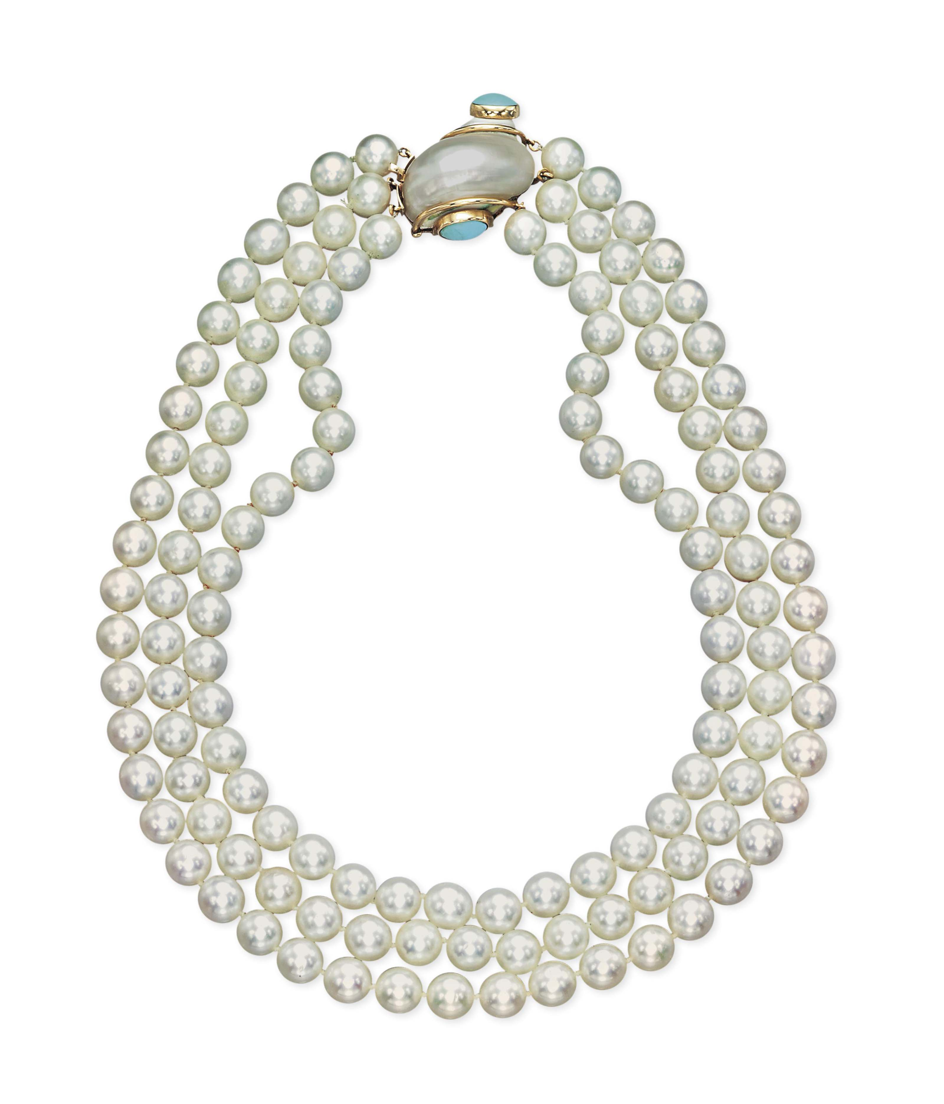 A CULTURED PEARL, SHELL AND TURQUOISE NECKLACE