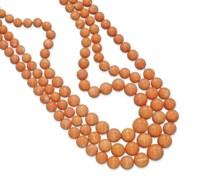 A SET OF THREE CORAL NECKLACES, BY TRIANON