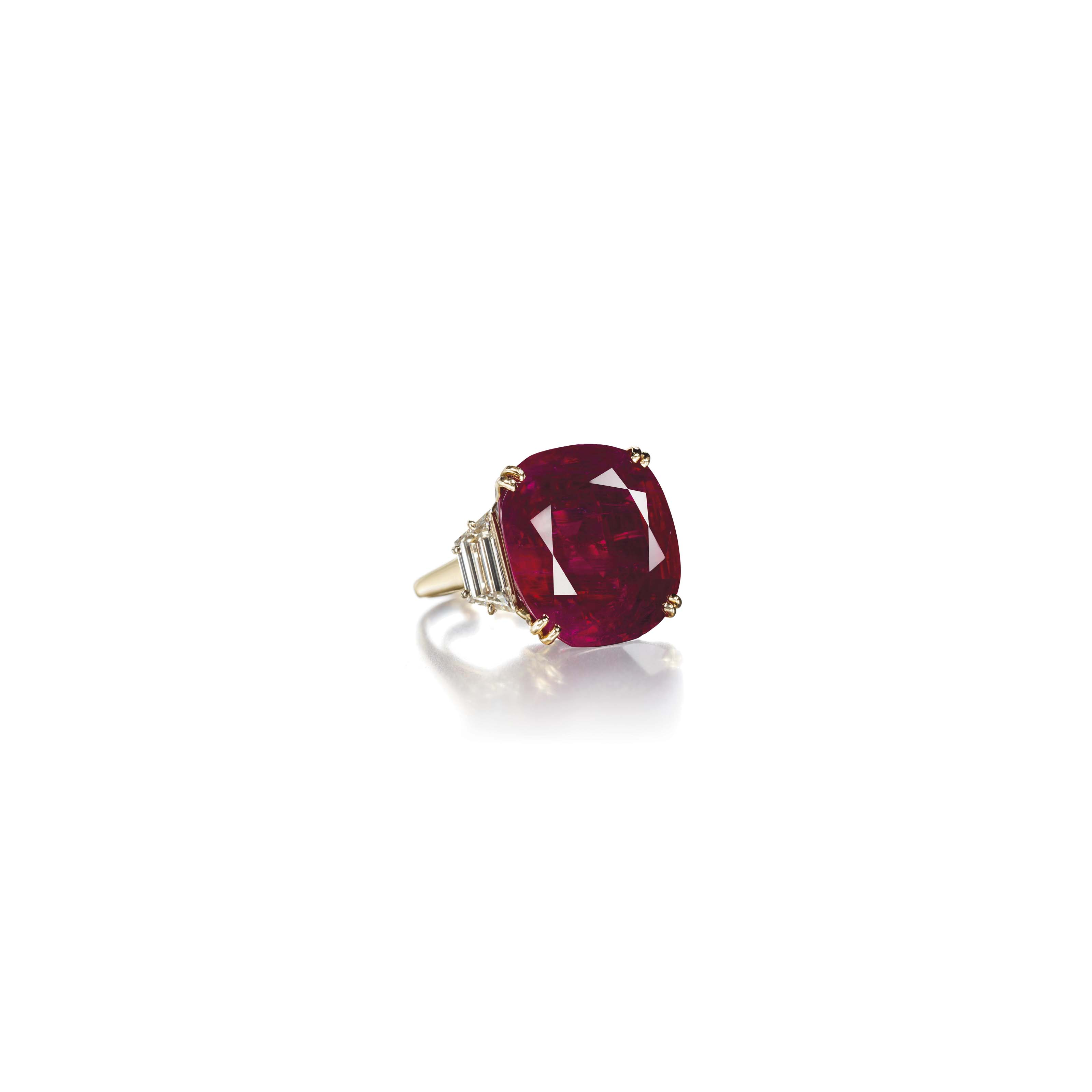 A RUBY AND DIAMOND RING, BY CH