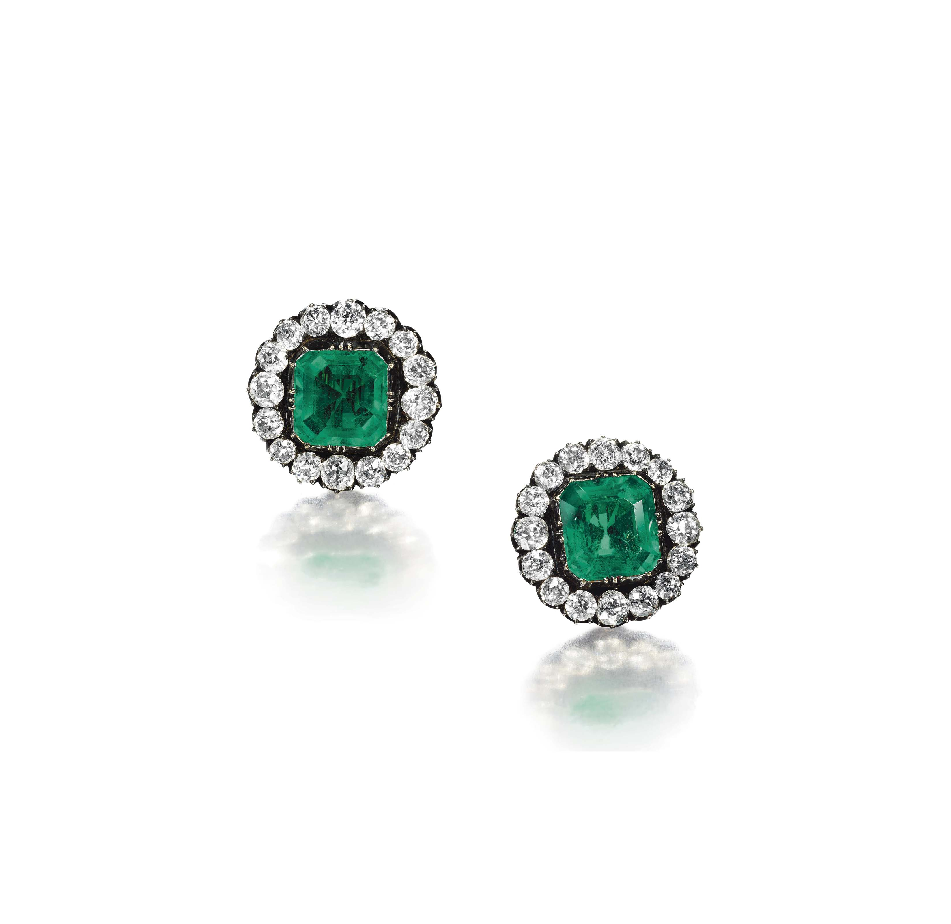 A Pair Of Antique Emerald And Diamond Earrings Christie S