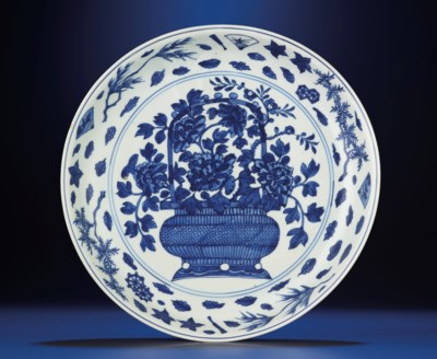 A FINE LARGE LATE MING BLUE AN