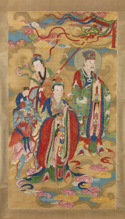 A LARGE PAINTING OF DAOIST STE