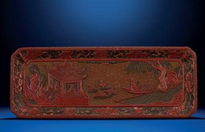 A LARGE MING POLYCHROME LACQUE