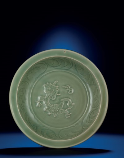 A LONGQUAN CELADON CARVED AND