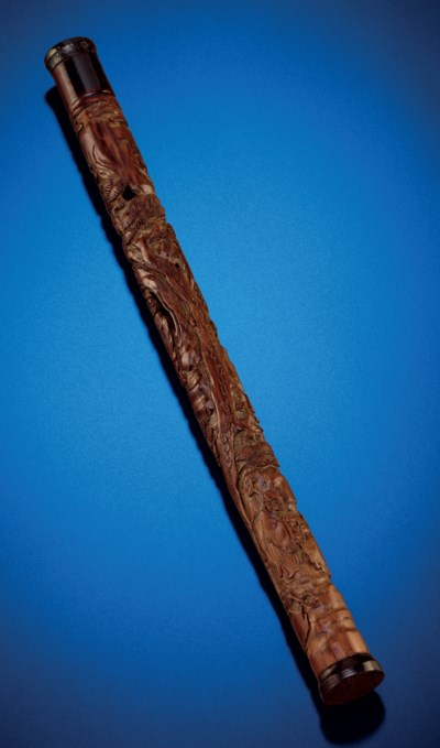 A CARVED BAMBOO INCENSE CONTAI