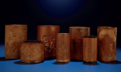 A GROUP OF SEVEN CARVED BAMBOO