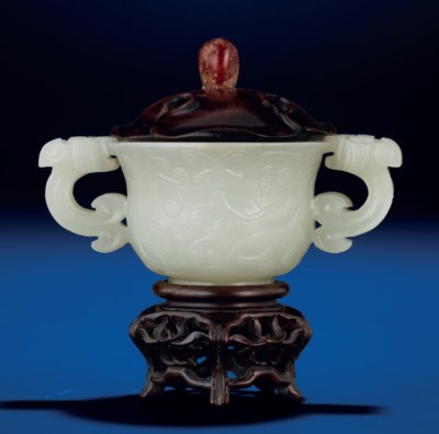 A WHITE JADE 'CHILONG' CUP