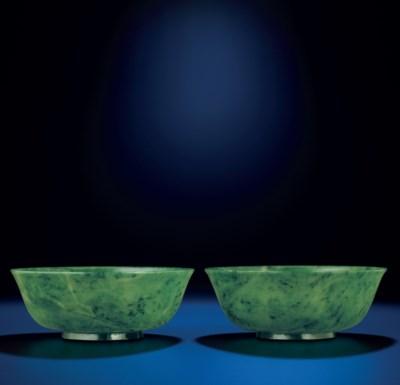 A PAIR OF SPINACH GREEN JADE B
