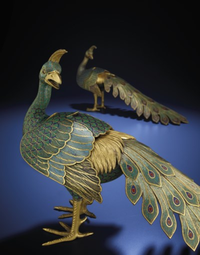 A VERY RARE PAIR OF CLOISONNE
