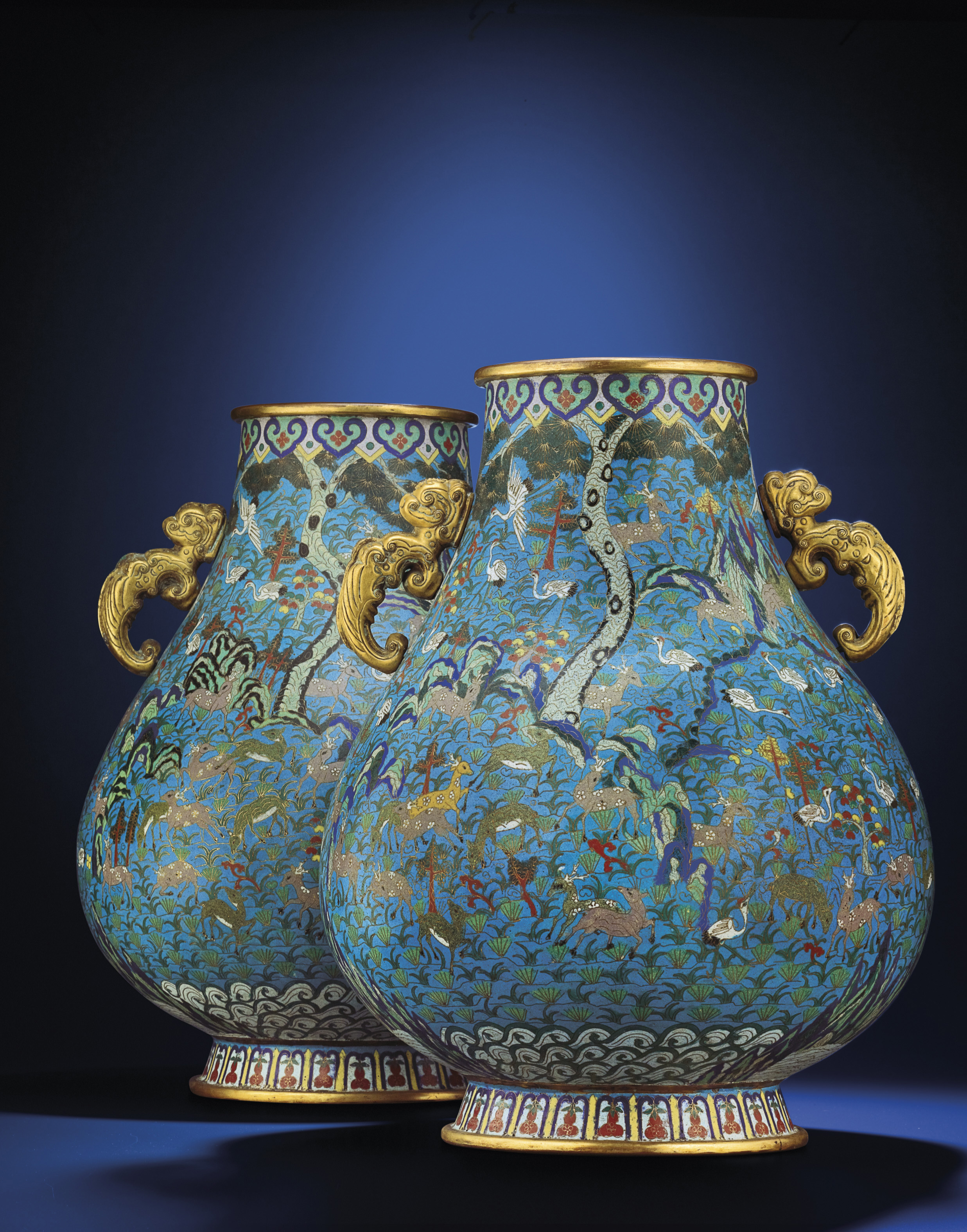 A LARGE PAIR OF CLOISONNE ENAM