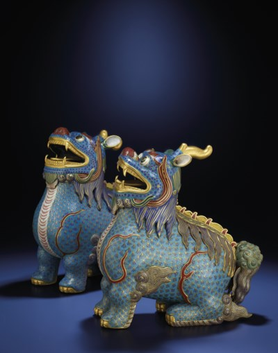 TWO LARGE CLOISONNE AND CHAMPL