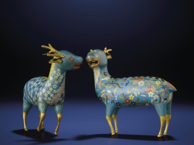 TWO SMALL CLOISONNE ENAMEL FIG