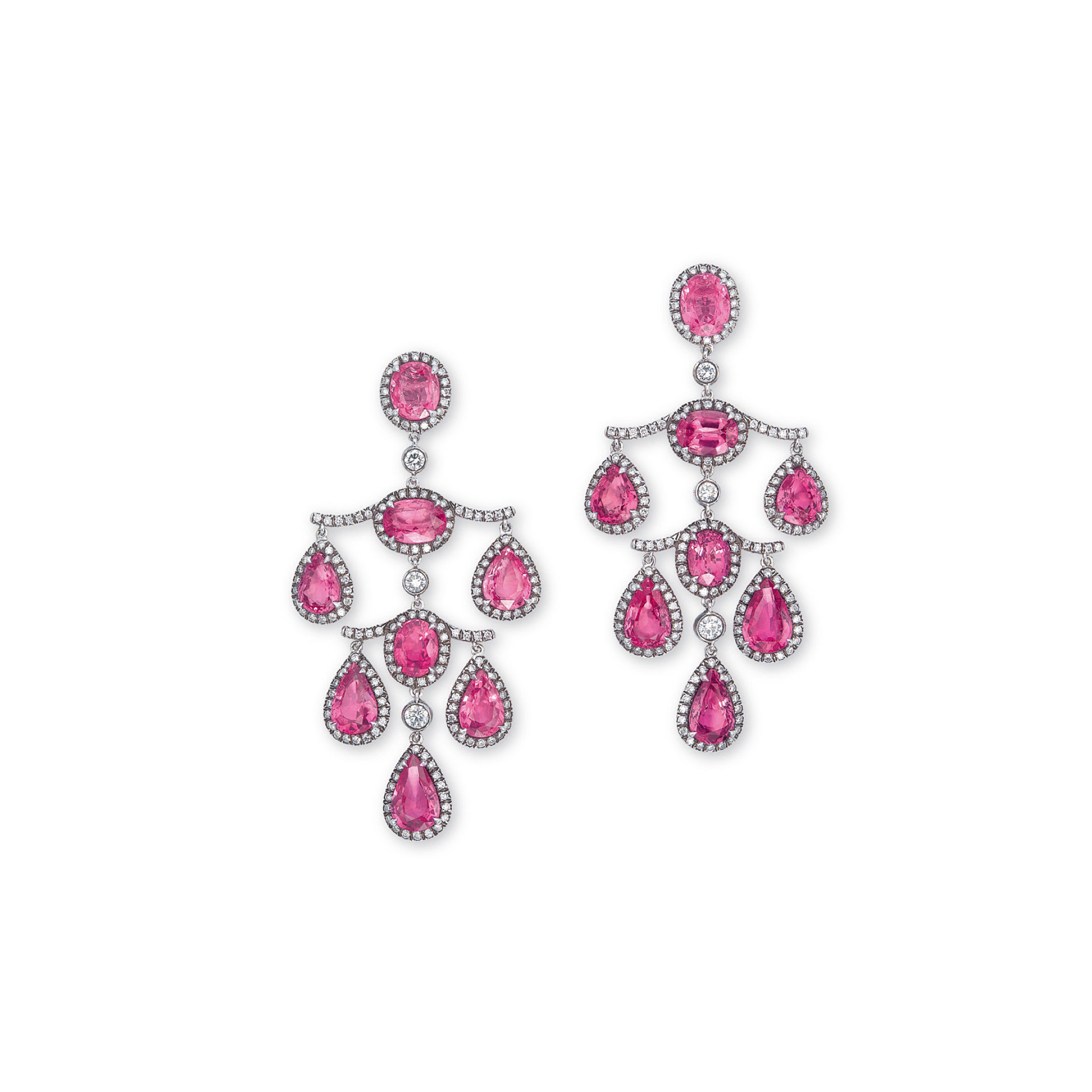 A PAIR OF PINK SAPPHIRE AND DIAMOND EAR PENDANTS, BY FRED LEIGHTON