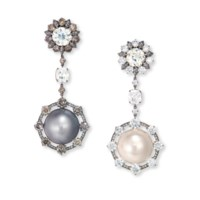 A PAIR OF NATURAL PEARL AND DIAMOND EAR PENDANTS, BY WALLACE CHAN