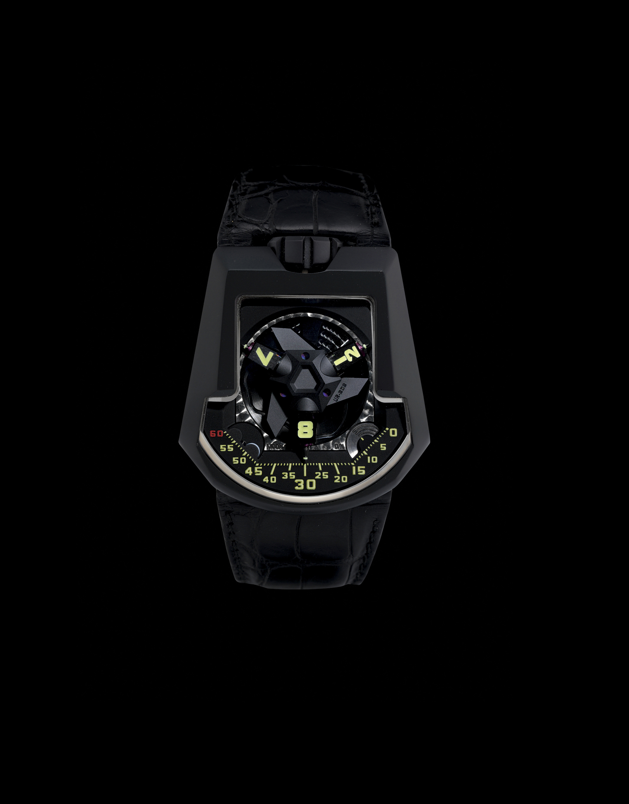 URWERK. A RARE, LARGE AND UNUSUAL TITANIUM AUTOMATIC WRISTWATCH WITH 3-DIMENSIONAL SATELLITE HOUR DISPLAY, TELESCOPIC MINUTE HAND, TWIN TURBINE SYSTEM, MOON-PHASES AND DAY/NIGHT INDICATION