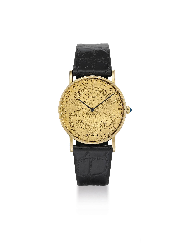 CORUM. AN 18K GOLD COIN WRISTWATCH