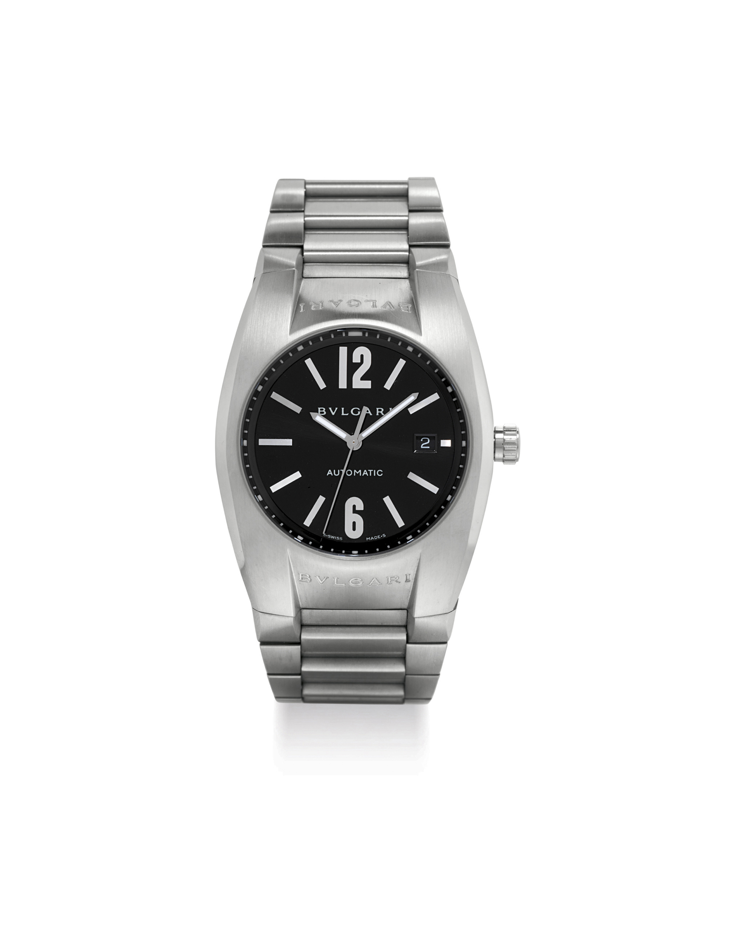 BVLGARI. A LARGE STAINLESS STEEL AUTOMATIC WRISTWATCH WITH SWEEP CENTRE SECONDS, DATE AND BRACELET