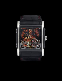 HD3. A LARGE AND RARE PVD COATED TITANIUM LIMITED EDITION TOURBILLON WRISTWATCH WITH POWER RESERVE INDICATION, ROTATING DIGITAL DISCS DISPLAY AND CERTIFICATE