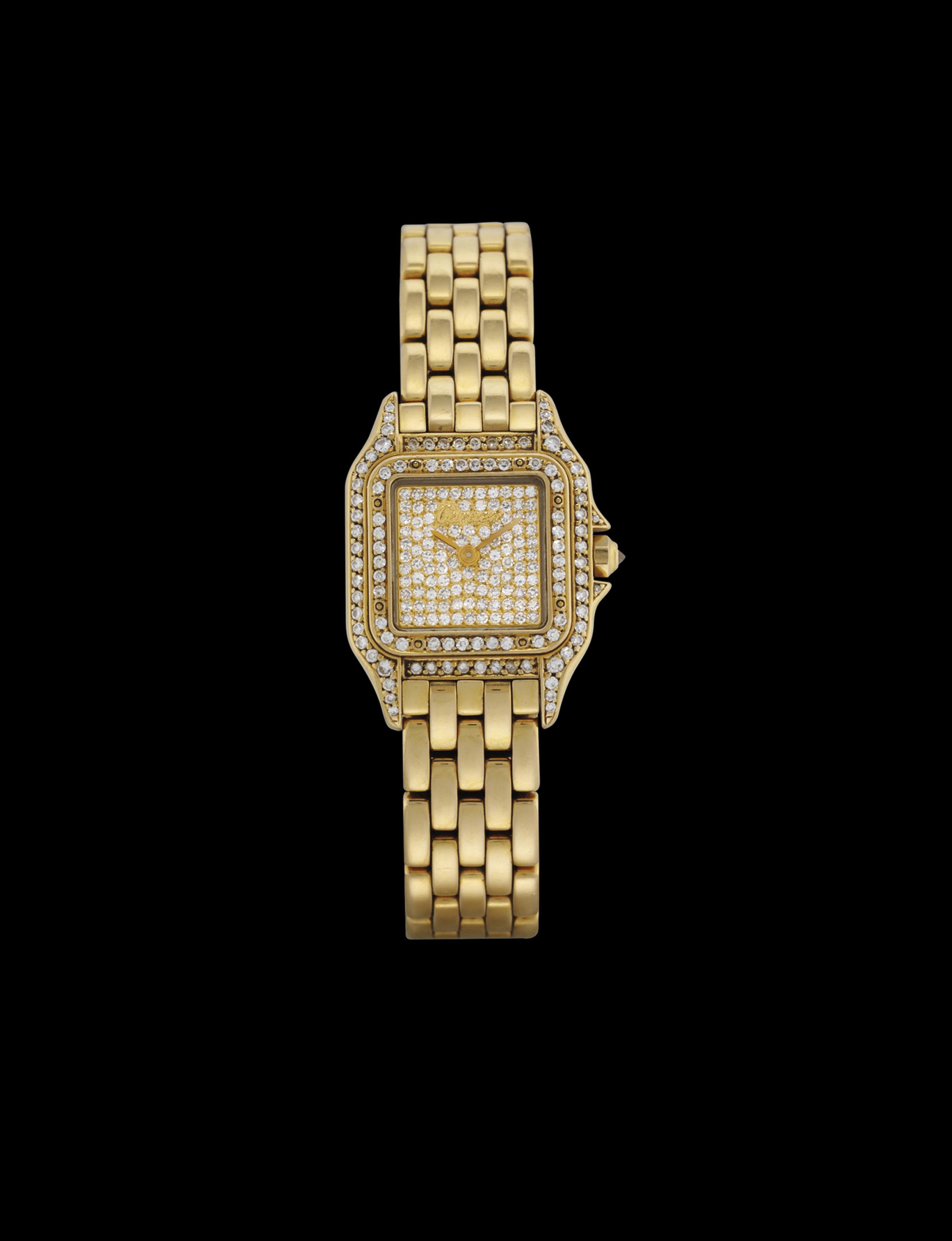CARTIER. A LADY'S 18K GOLD AND DIAMOND-SET SQUARE BRACELET WATCH