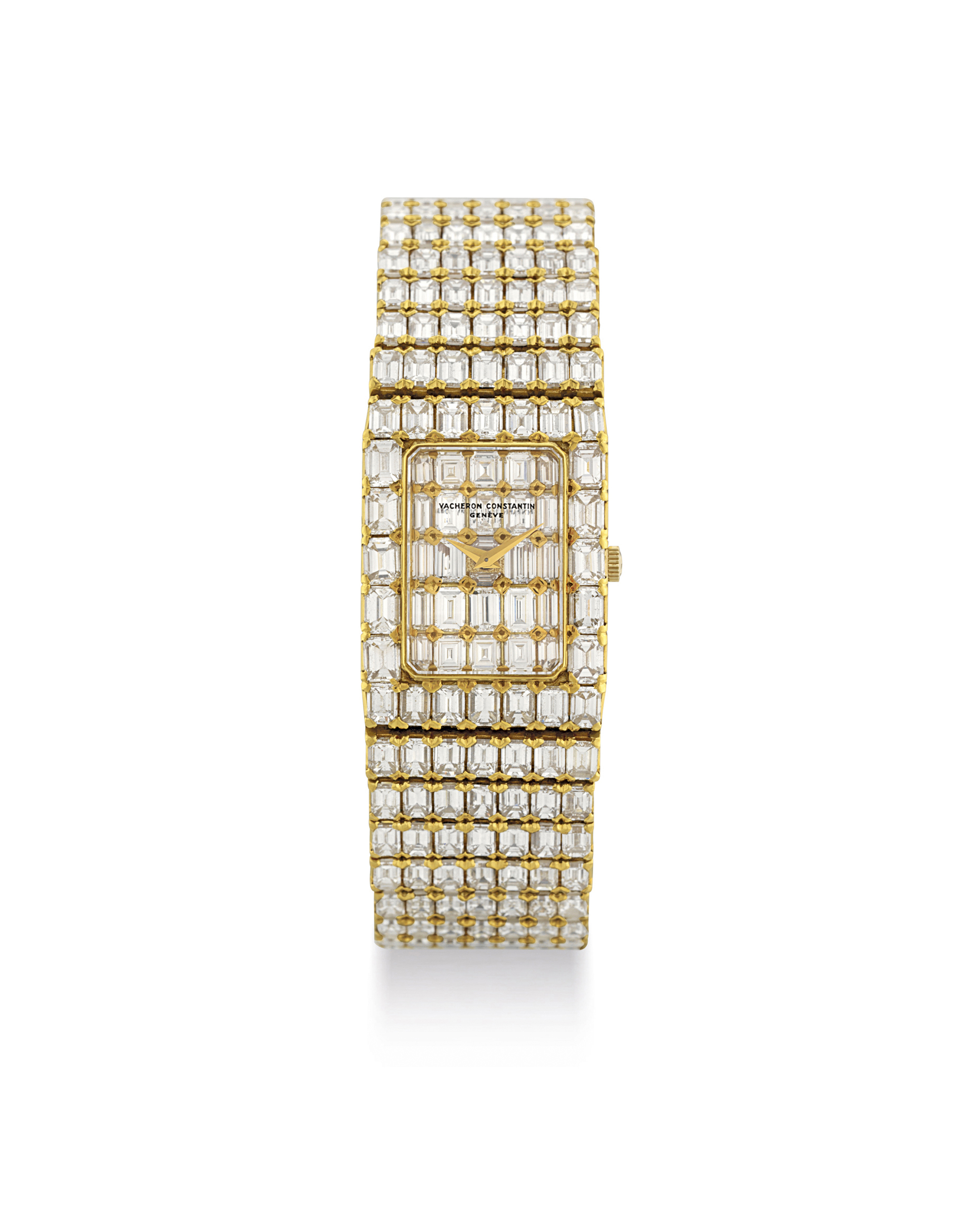 VACHERON CONSTANTIN. A SUPERB AND MAGNIFICENT 18K GOLD AND DIAMOND-SET RECTANGULAR BRACELET WATCH