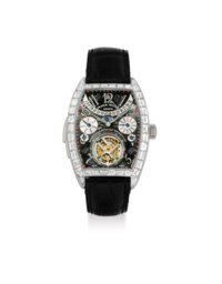 FRANCK MULLER. A VERY FINE AND EXTREMELY RARE 18K WHITE GOLD AND BAGUETTE-CUT DIAMOND-SET MINUTE REPEATING PERPETUAL CALENDAR TOURBILLON WRISTWATCH WITH RETROGRADE DATE, LEAP YEAR INDICATION AND MOON PHASES