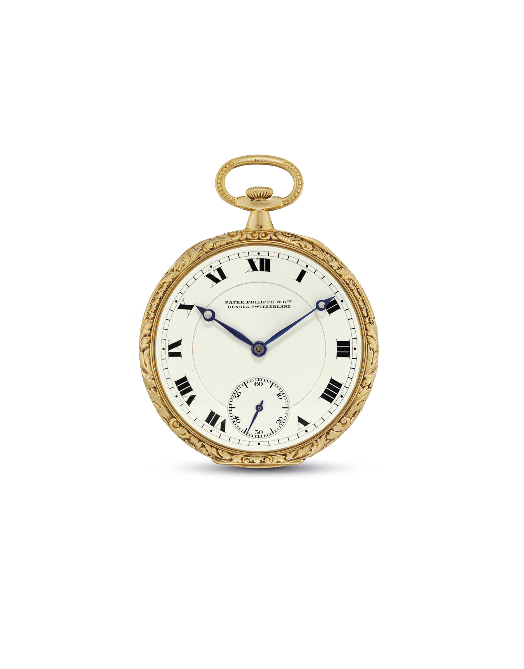 PATEK PHILIPPE. A FINE 18K GOLD OPENFACE KEYLESS LEVER WATCH